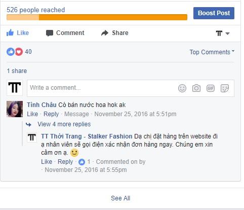 TT Thời Trang comment Hướng dẫn mua hàng trên Facebook