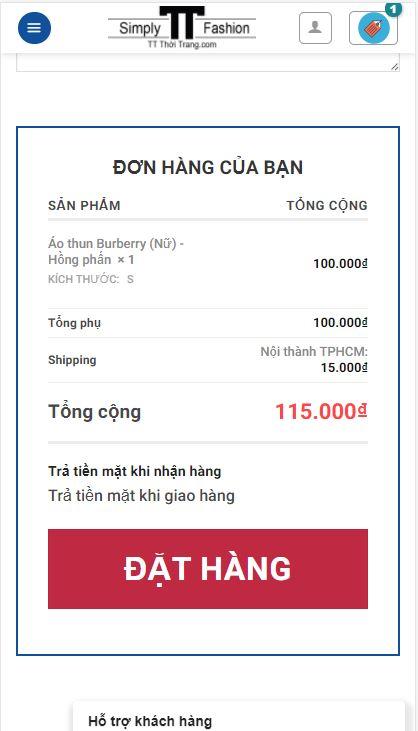 TT Thời Trang dt11 Hướng dẫn mua hàng trên điện thoại