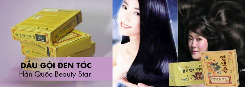 TT Thời Trang dau-goi-nhuom-toc-800x285 Dầu Gội Thảo Dược Đen Tóc Beauty Star Hàn Quốc (Hộp 10 Gói x 30ml)